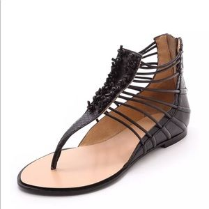 L.A.M.B Black Leather Gladiator Sandals Sz:6.5M